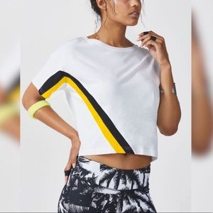 Fabletics Leah Tee Crop Top White Yellow Black M